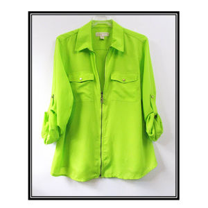 Michael by Michael Kors 3/4 Sleeve Green Blouse